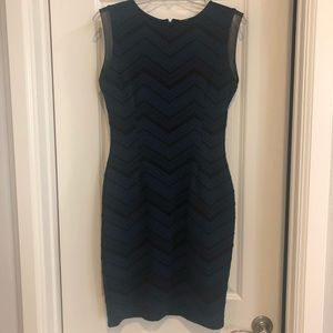 Black and Navy Bodycon Dress with Pleather Trim